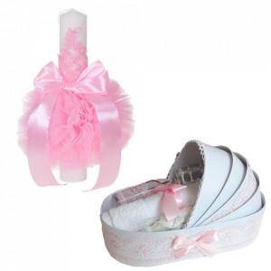 Lumanare botez glob cu dantela si trusou botez in landou, decor Roz, Denikos® 748