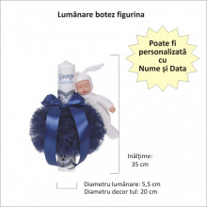 Lumanare botez personalizata, decor bleumarin cu tul, dantela si o jucarie iepuras, Denikos® 736