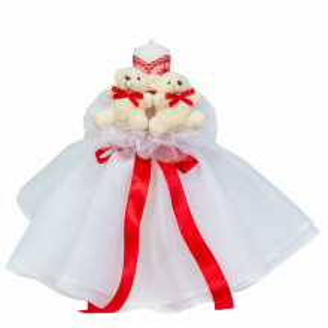 Lumanare botez rochita, cu ursuleti si trusou botez in landou, decor Rosu, Denikos® 598