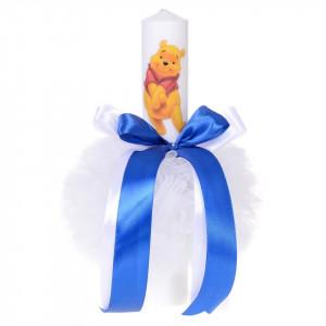 Lumanare botez ursuletel simpatic, decor albastru, Denikos® 58