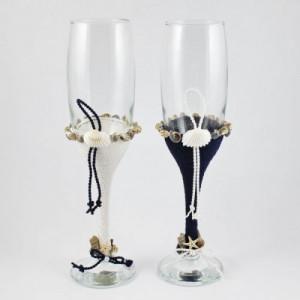 Pahare nunta miri decorate marin snur alb si bleumarin PN010