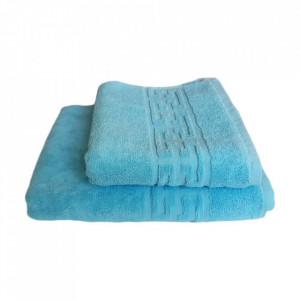 Set 2 prosoape groase si pufoase, bumbac, model grecesc, Bleu, Denikos® 245