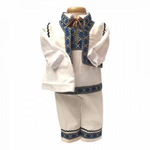 Set botez traditional baietel, tusou botez, lumanare si costum national baiat, Denikos® 738