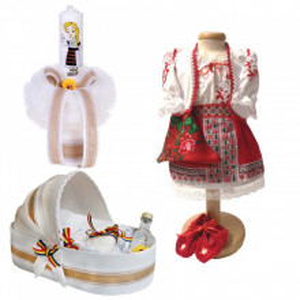 Set botez traditional fetita, trusou botez landou, lumanare si costum traditional, Denikos® 979