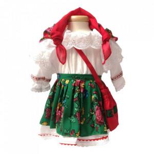 Set costum botez traditional fetita si cutie asortata, Denikos® 991