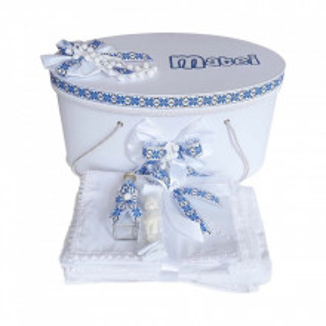 Set cutie trusou personalizata si trusou botez, decor traditional, albastru, Denikos® 230