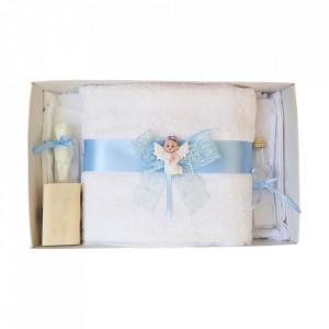 Set dantela trusou botez, cutie trusou si lumanare, Ingeras, decor bleu, Denikos® 477
