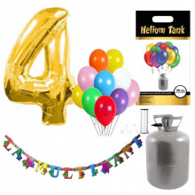 Set party butelie heliu, balon cifra 4 folie, banner si 10 baloane latex