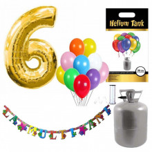 Set party butelie heliu, balon cifra 6 folie, banner si 10 baloane latex