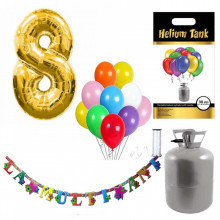 Set party butelie heliu, balon cifra 8 folie, banner si 10 baloane latex