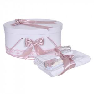 Set trusou botez, cutie trusou si lumanare personalizata cu nume, decor Roz pudra, Denikos® 902