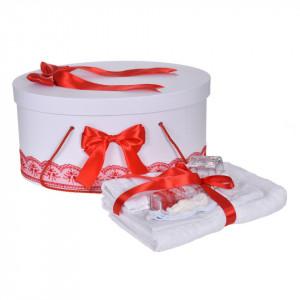 Set trusou botez, cutie trusou si lumanare personalizata cu nume, decor Rosu cu iepuras, Denikos® 910