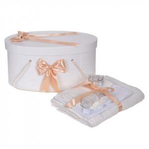 Set trusou botez, cutie trusou si lumanare personalizata cu nume, decor Crem cu iepuras, Denikos® 914