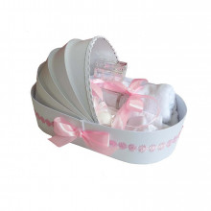 Trusou botez complet, in landou, floricele roz Denikos® 133