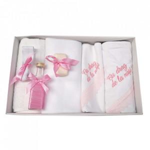 Trusou botez cu mesaj si lumanare eleganta glob cu dantela, decor roz, Denikos® 744