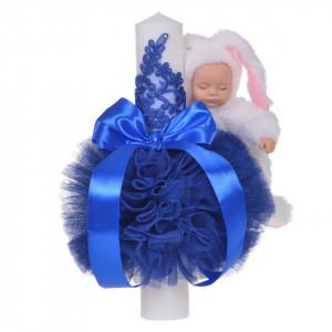 Trusou botez cu mesaj si lumanare eleganta glob cu dantela si iepuras pufos, decor albastru, Denikos® 758