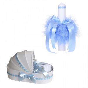 Trusou botez in landou si lumanare cu floricele bleu pentru baietel Denikos® 43
