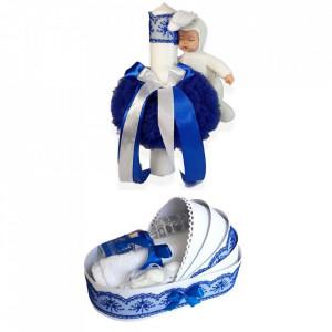 Trusou botez in landou si lumanare cu iepuras, decor albastru Denikos® 173