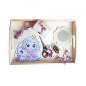 Set tavita mot simpla, fetita 1 an, fundite roz pudra, decor printesa cu unicorn, Denikos® 205