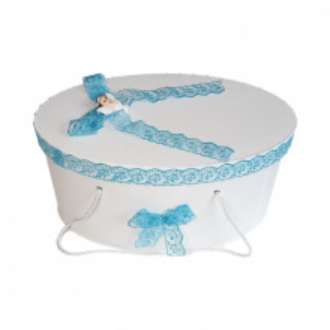 Cutie trusou botez dantela turcoaz si ingeras, Denikos® 180