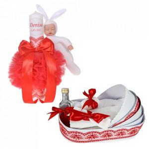 Lumanare botez cu iepuras, personalizata si trusou botez in landou, decor Rosu, Denikos® 798