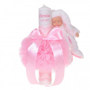 Lumanare botez personalizata, decor roz cu tul, dantela si o jucarie iepuras, Denikos® 732