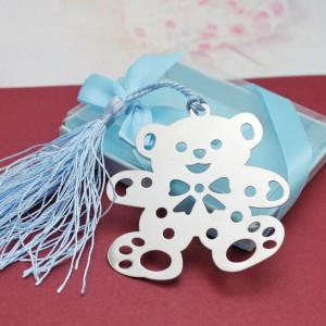 Semn de carte ursulet cu snur roz sau bleu FC009