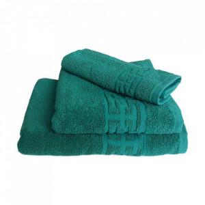 Set 3 prosoape groase si pufoase, bumbac, model grecesc, Verde, Denikos® 288