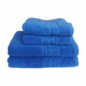 Set 4 prosoape groase si pufoase, bumbac, model grecesc, Albastru, Denikos® 242
