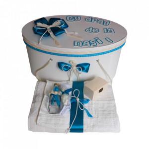 Set cutie trusou personalizata si trusou botez, decor turcoaz Denikos® 237