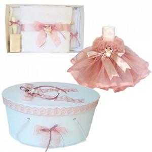 Set dantela trusou botez, cutie trusou si lumanare, Ingeras, decor roz prafuit, Denikos® 480