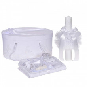 Set elegant trusou botez, cutie trusou si lumanare, decor dantela Alba diafana, Denikos® 961