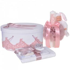 Set elegant trusou botez, cutie trusou si lumanare iepuras pufos, dantela si fundite, decor Roz pudra, Denikos® 929