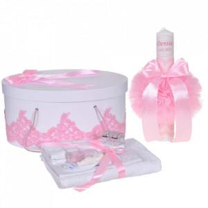 Set elegant trusou botez, cutie trusou si lumanare personalizata cu nume, decor dantela Roz, Denikos® 935