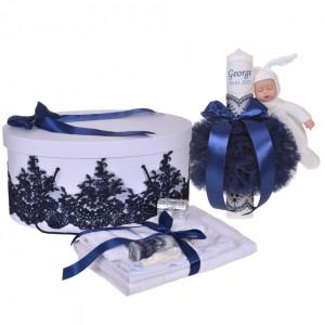 Set elegant trusou botez, cutie trusou si lumanare personalizata cu nume, decor dantela Bleumarin cu iepuras, Denikos® 945