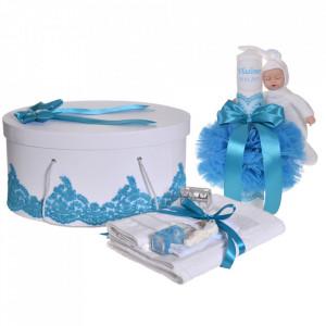 Set elegant trusou botez, cutie trusou si lumanare personalizata cu nume, decor dantela Turcoaz cu iepuras, Denikos® 951