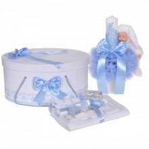 Set trusou botez, cutie trusou si lumanare iepuras pufos, dantela si fundite, decor Bleu, Denikos® 895