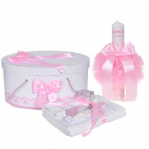 Set trusou botez, cutie trusou si lumanare personalizata cu nume, decor Roz, Denikos® 899