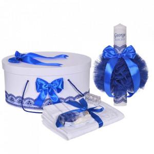 Set trusou botez, cutie trusou si lumanare personalizata cu nume, decor Albastru, Denikos® 903
