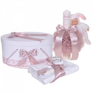 Set trusou botez, cutie trusou si lumanare personalizata cu nume, decor Roz pudra cu iepuras, Denikos® 911