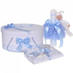 Set trusou botez, cutie trusou si lumanare personalizata cu nume, decor Bleu cu iepuras, Denikos® 913