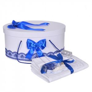 Set trusou botez si cutie trusou, dantela si fundite, decor Albastru, Denikos® 837