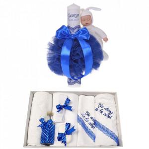 Trusou botez cu mesaj si lumanare botez personalizata, decor albastru cu iepuras, Denikos® 791