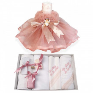 Trusou botez cu mesaj si lumanare dantela si Ingeras, decor roz pudra, Denikos® 551