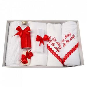 Trusou botez cu mesaj si lumanare eleganta glob cu dantela, decor rosu, Denikos® 745