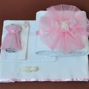 Trusou botez fetita cu ursuleti roz tb04n