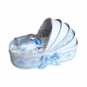 Trusou botez in landou si lumanare glob cu ingeras, decor bleu Denikos® 160