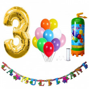 Butelie heliu, cifra 3 balon folie, banner si 10 baloane latex