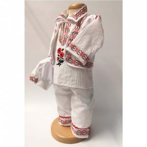Costum traditional botez baietel, Rosu, Denikos® 673
