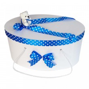 Cutie trusou botez fundite albastre cu buline si ursulet, Denikos® 2
